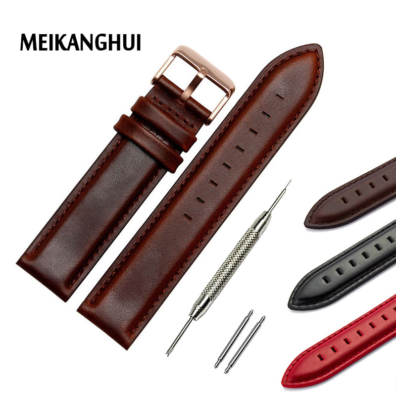New Arrived High Quality  12mm 13mm 14mm 17mm 18mm 20mm Watchband Genuine Leather Watch Strap Bracelet Black Brown