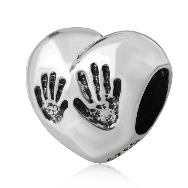 Solid 925 Sterling Silver Heart Beads Hands Charms Mother`s Day Gift Fit European Origin ...