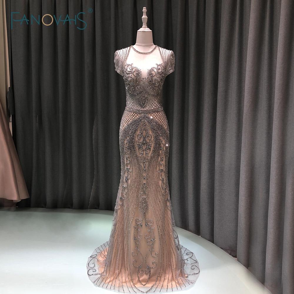 Luxury Mermaid Evening Dress Long Cap Sleeve Handmade Beaded Prom Dress 2019 Vestidos De Fiesta De Noche NE99