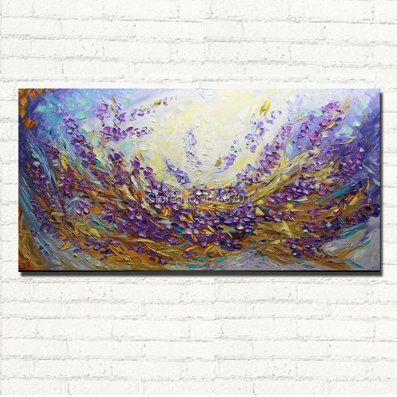 Purple Flower Oil Painting Abstract Wall Art Picture: Abstract Lavender Field Oil Painting On Canvas Landscape