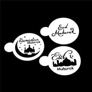 Image 2 - 3/6 pcs Ramadan Eid Mubarak lamp Design cake stencils,baking cupcake ramadan decoration Tools biscuit Mousse cake Template