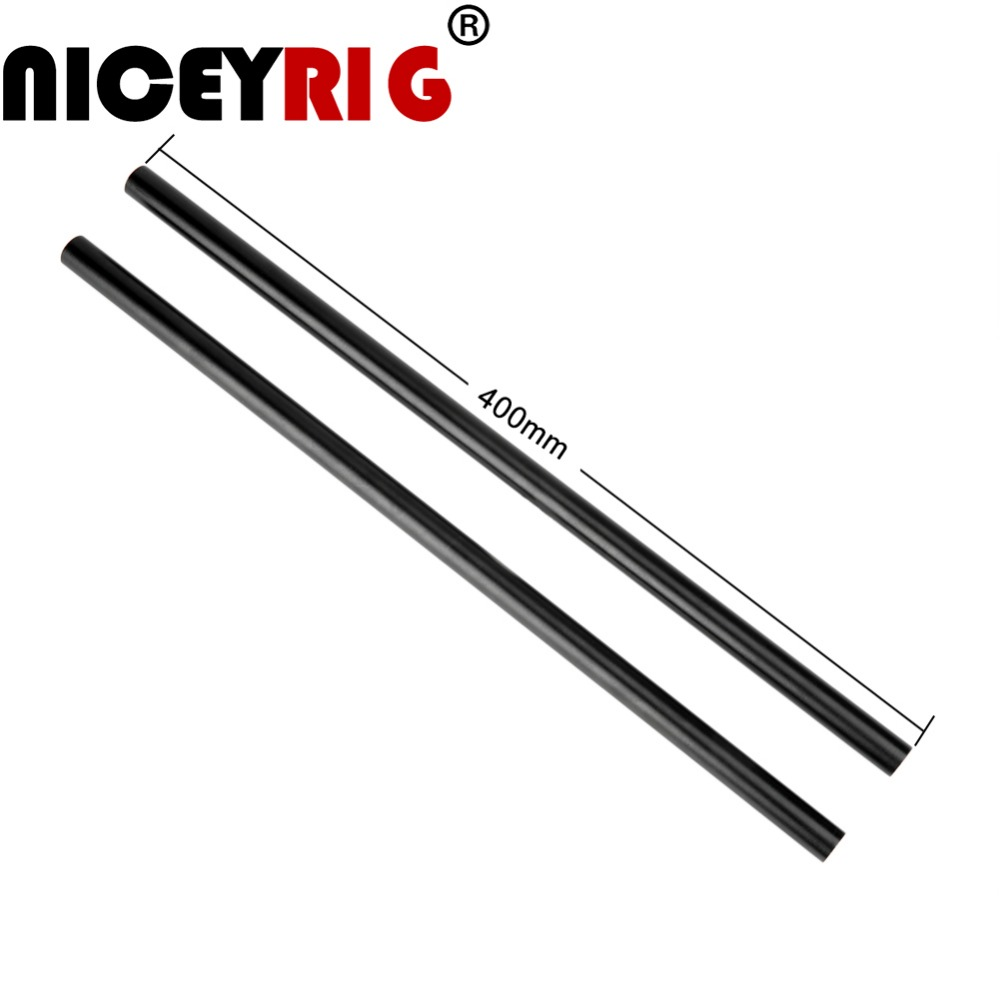 NICEYRIG 15mm Rod DSLR Camera Rig 15mm Shoulder Rig Video Camera Cage Rail Rod Aluminum Black Length 40cm / 16 Inch (Pack Of 2)