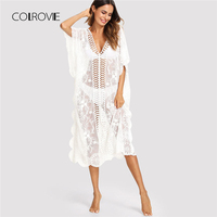 COLROVIE Lace Insert Embroidered Mesh Dress 2018 New Spring White Scallop Backless Women Dress Beach Geometric