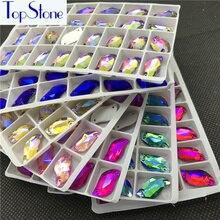 Topstone S Shape Sew On Rhinestones Glass Crystal Flatback 6x12 10x20 mm Multi Colors AB Sew-on Stone for dress costume