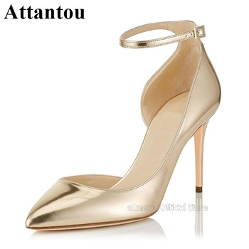 Gold Leather Thin High Heel Women Pumps Ankle Wrap Straps Classic Golden  Sexy Prom Party Dress Shoes Plus Size 46