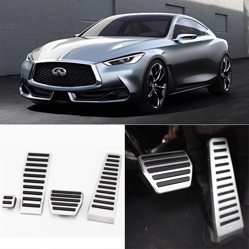 Brand New 4pcs Aluminium Non Slip Foot Rest Fuel Gas Brake Pedal Cover For Infiniti Q60 AT 2013-2016 brand new 2pcs aluminium non slip foot rest fuel gas brake pedal cover for mazda cx 5 at 2013 2016