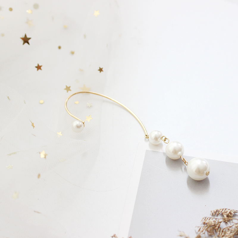 SANSUMMER 2019 Popular Temperament Chain Pearl Simple Lady Fashionable Ear Hanging Earrings For Women Ear contour Shape 5662 in Stud Earrings from Jewelry Accessories