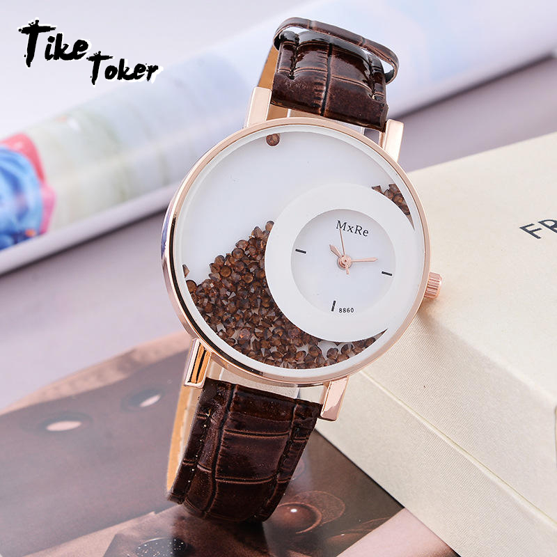 TIke Toker New Fashion Leather Strap Women Rhinestone Wrist Watches Casual Women Dress Watches Crystal Solid Color Hot