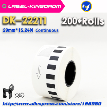 200 Refill Rolls Compatible DK-22211 Label 29mm*15.24M Continuous Compatible for Brother Label Printer DK22211 White Label