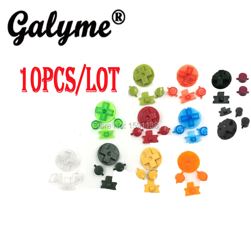 10pcslot Hot Multi-Color Choose Plastic Buttons Fit For GameBoyGB Classic GBO DMG L R Keypads Game Console D-pads Rubber Pads