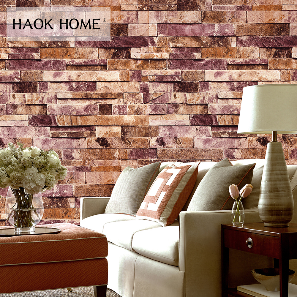 HaokHome PVC Vintage Faux Brick Stone Vinyl Wallpaper Wall covering For Wall 3d Living room Bedroom Bathroom Home Decoration wall art vintage stone brick tapestry for bedroom