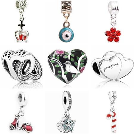 Hot Selling Small Pendant Beads Pink Flower Hearts Lion Evil Eye Beads Fit Pandora Charm Bracelets Women Enamel Alloy Beads DIY(China)
