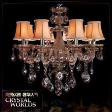 Glas cognac kronleuchter lampenschirme lüster de sala de janta candelabro art deco glanz moderne kristall kronleuchter lampe
