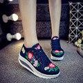 Новая коллекция весна Повседневная вышивка холст обувь женщины клин пятки нагнетает ботинки bottine мода femme платформы обувь женщин
