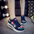 New spring Casual embroidery canvas shoes women wedge heels pumps shoes bottine fashion femme platform shoes women