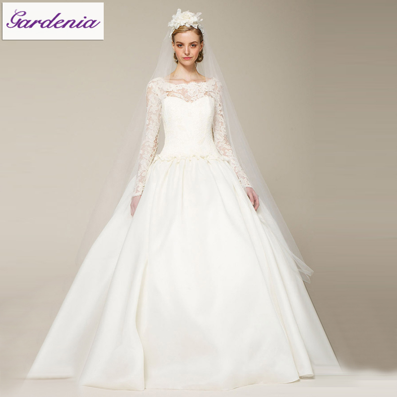 2014 Modest Style Charming Ball Gown Plus Size Long Sleeve Wedding ...