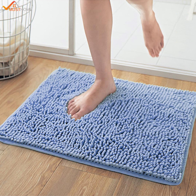 4060cm soft shaggy inch non slip microfiber shag bathroom rugs bath mats shower - Bathroom Rugs