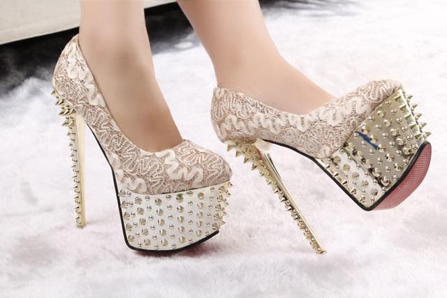 bd4f550f17dc Free shipping women s shoes rivet platform high heels gold black lace pumps  bridal shoes spike studded heels women s pumps
