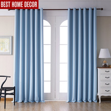 Modern blackout curtains for living room bedroom window treatment drapes blue finished 1 panel