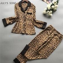 JULYS SONG ensemble 2 pièces pyjama imprimé léopard en Satin, col en v, manches longues, fausse soie, vêtements de nuit pour femmes