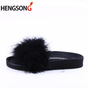 HENGSONG Fur Slide Beach Female Sandals Flip Flops Women