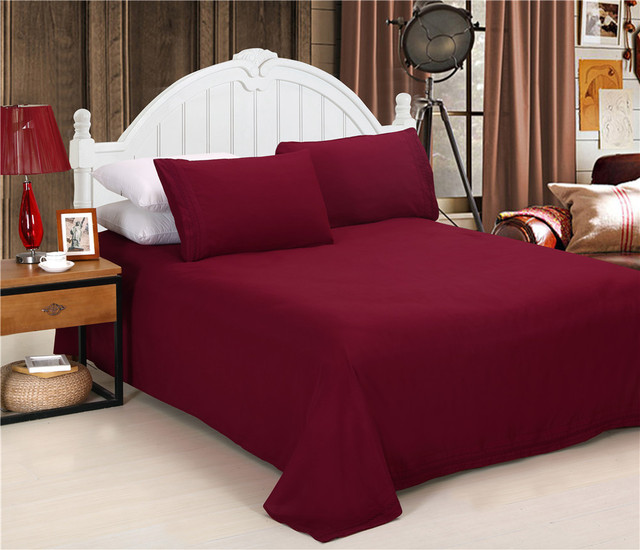 Factory Price 4pcs Bed Sheets Set Wine Red Flat Sheet Elastic Fitted Sheet  Solid Pillowcase Mattress