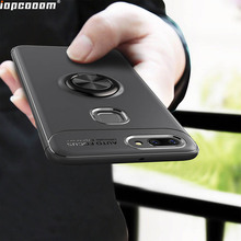Luxury Case For VIVO X20 Plus Rotating Finger Ring Holder Matte Soft Silicone Back Cover Coque