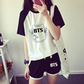 2017 BTS KPOP Summer Set New Hot College Women black gray Cotton Letters printed Splice Raglan Short-sleeved T-shirt shorts