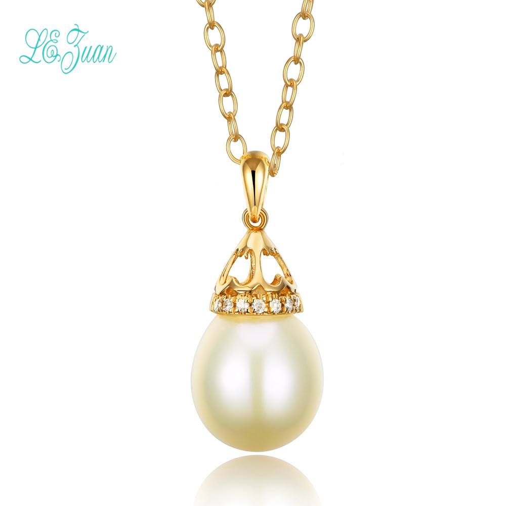 l&zuan 18K Yellow Gold 0.026CT Diamond Natural Freshwater Pearl Necklace Pendant For Women Christmas Exchange Gifts Party