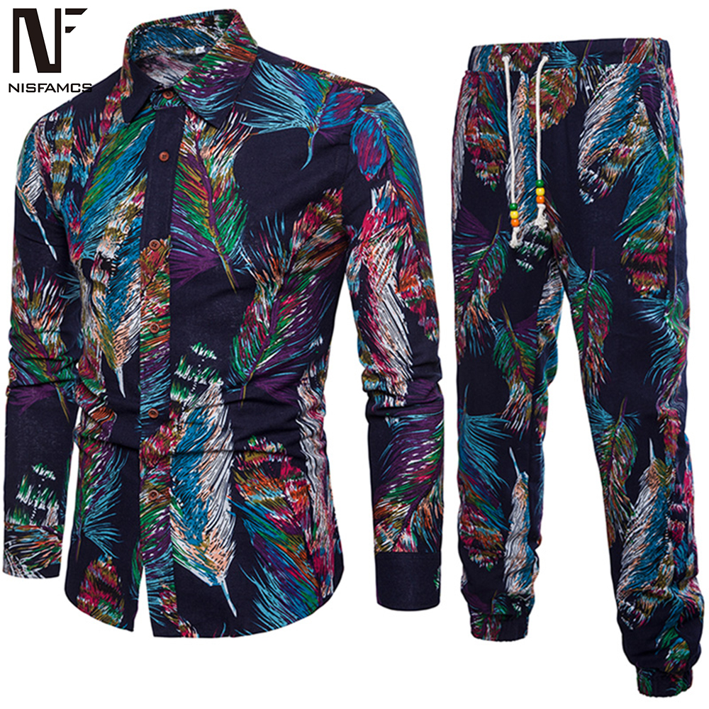 Colorful Print Male Vacation Suit Long Sleeve Man Pants And Shirts Party Set 2019 New Tracksuits 5XL High Quality Linen Clothing