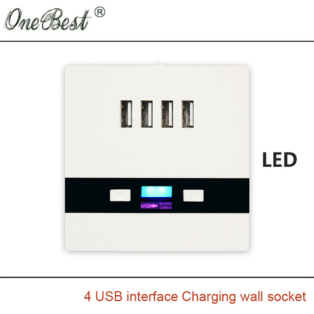 5V 3A 86 Type Wall Socket AC110-250V 4 USB Charging Interfaces Wall Socket USB Switch Panel Hotel School Special Free Shipping