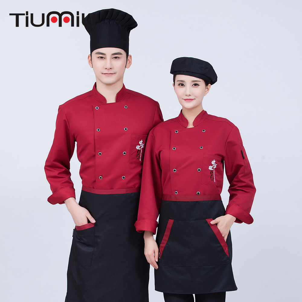 High Quality Embroidery Long-sleeved Double Breasted Chef Jackets Catering Workwear Uniforms BBQ Restaurant Kitchen Cooking Tops
