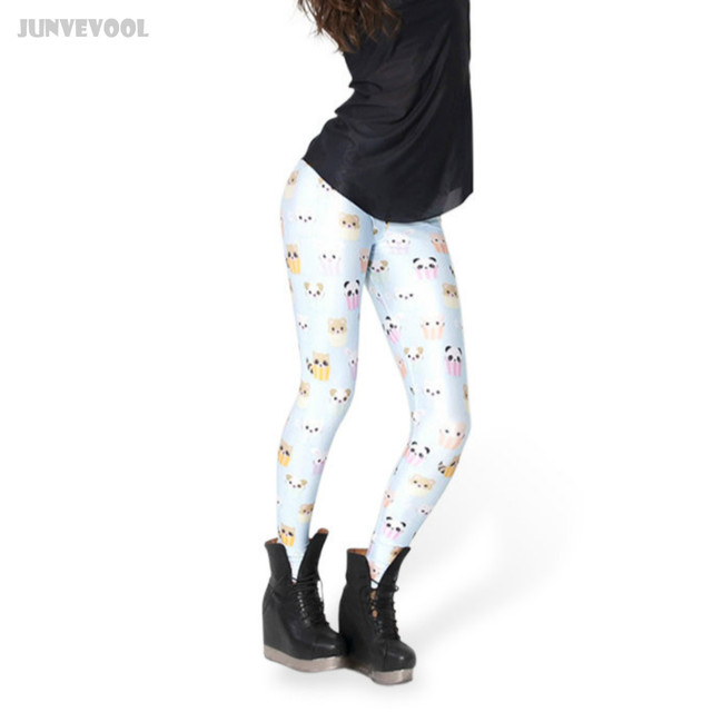 Joggings Fitness Soft Leggings Cute Emoji Printed Pants Women's Party Gifts White Panda Cupcake Print Trousers Pants New Appearl