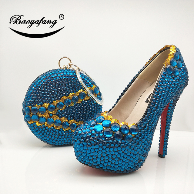 Turquoise Blue Women Wedding Shoes With Matching Purse