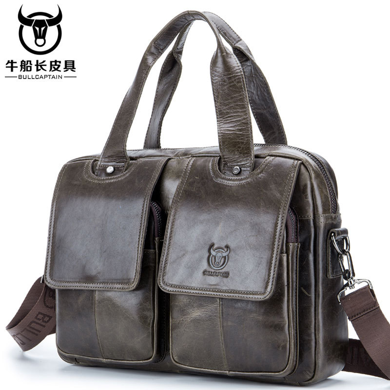 Vintage First Layer Cow Leather Men Handbag Multifunction Shoulder Bag Perfect Quality Genuine Leather Business Briefcase