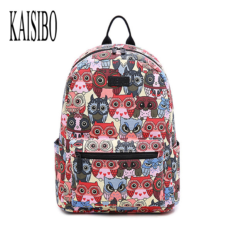 KAISIBO New Fashion Printing Backpack Female Animal Owl Women s Backpacks High Quality Canvas Laptop Backpacks