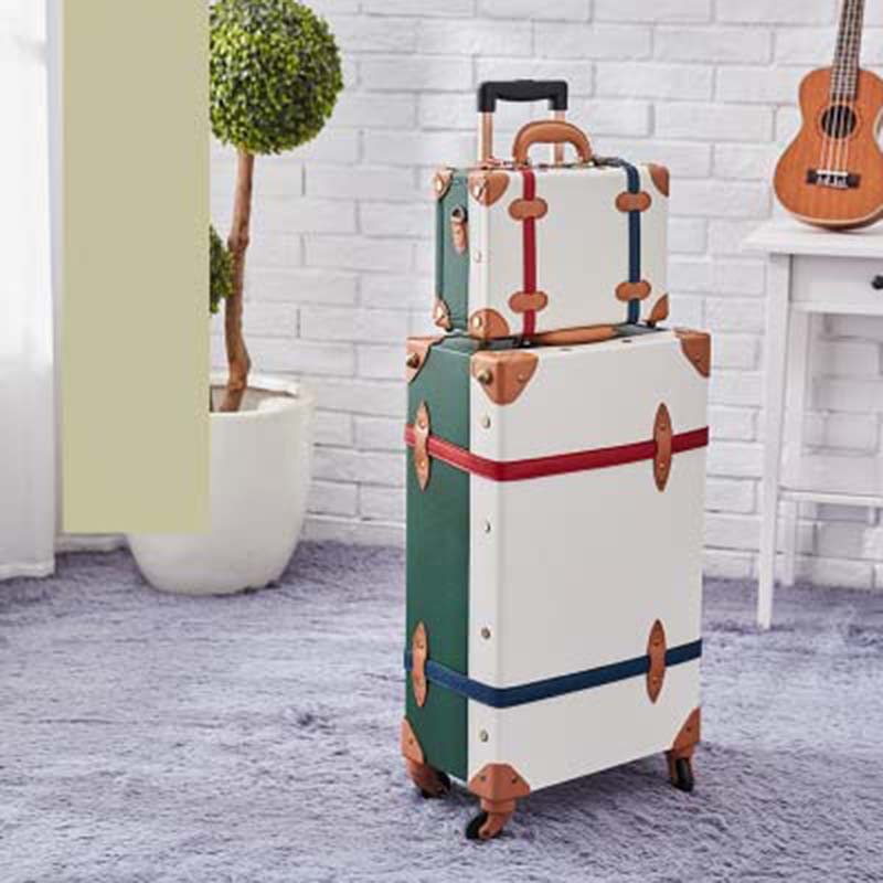 BeaSumore Retro Pink PU Leather Rolling Luggage Set Spinner Suitcase Wheel Vintage Cabin Trolley Women s