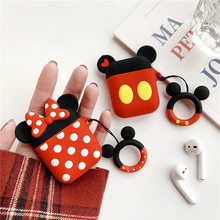 Bluetooth Earphone Case for Airpods 1 2 Accessories Protective Cover Bag Anti-lost Strap Cute Cartoon DIY Silicone Mickey Minnie