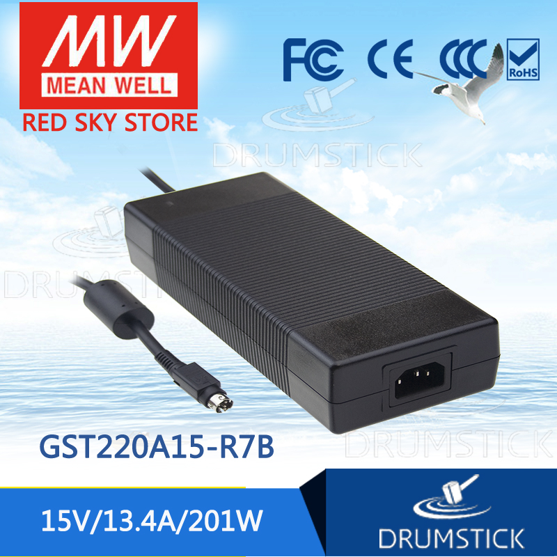 100% Original MEAN WELL GST220A15-R7B 15V 13.4A meanwell GST220A 15V 201W AC-DC High Reliability Industrial Adaptor [Real6] 1mean well original gsm160a24 r7b 24v 6 67a meanwell gsm160a 24v 160w ac dc high reliability medical adaptor