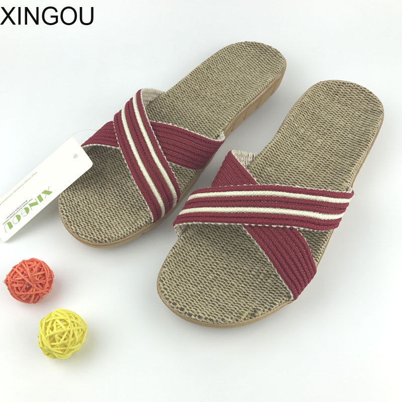 New home slippers women Natural flax slippers home Hemp Comfortable female slippers home indoor home slipper and Linen Slides coolsa women s summer striped linen slippers women hemp slides women s flax slippers breathable non slip fashion indoor slippers