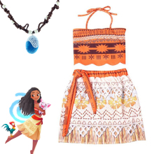 Moana Cartoon dress Kids girl princess shirt necklace pandent cosplay costume accessary 3-9 Year