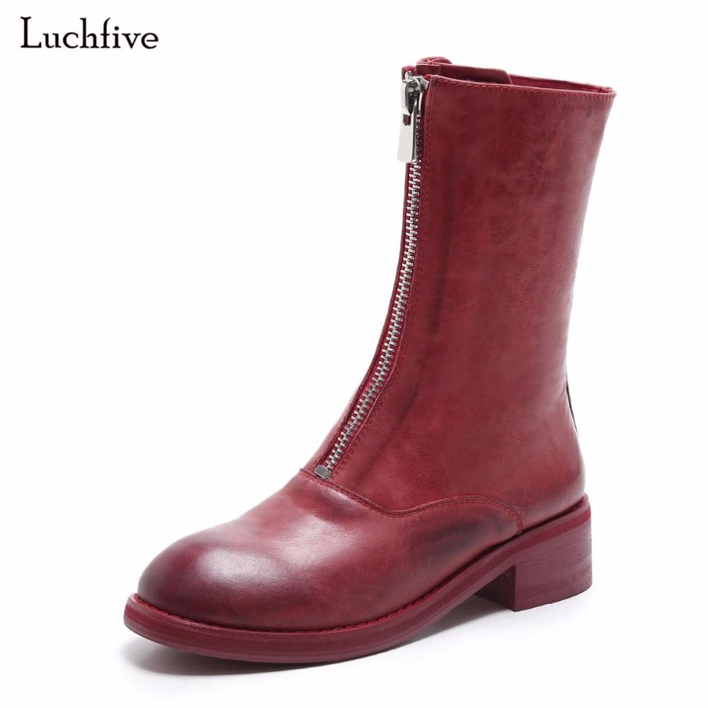 2017 Осень Мода Красный Белый Черный среднем высоком каблуке Пояса из натуральной кожи ботинки Martin Британский ретро молния декор женские бот...