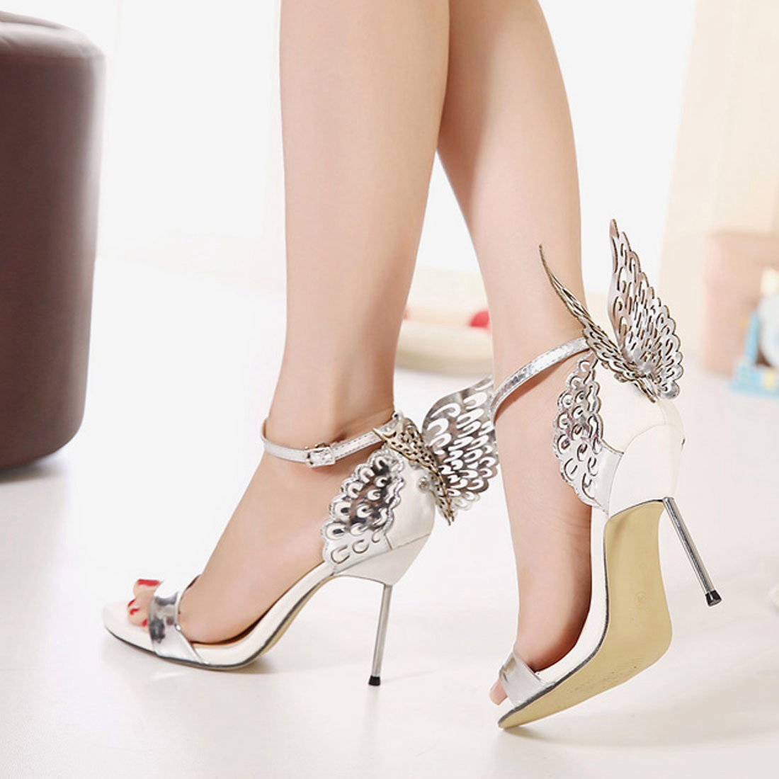 Sottile ed elegante scarpe donna _ Coreano moda sottili eleganti scarpe da donna con sottili tacco alto taglio cava sandali appuntita, argento, 38