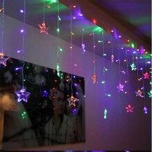 3,5 светодио дный м лед светодиодная гирлянда год Внутреннее освещение Гирлянда звезда светодио дный Моделирование LED luminarias рождественское светодио дный украшение светодиодный свет 16 звезд
