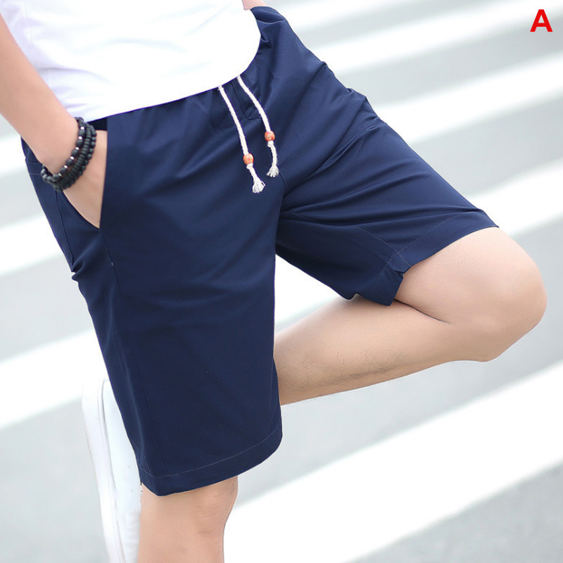 Men Shorts Solid Color Breathable Slim Fit Middle Waist Half Pants For Summer XRQ88