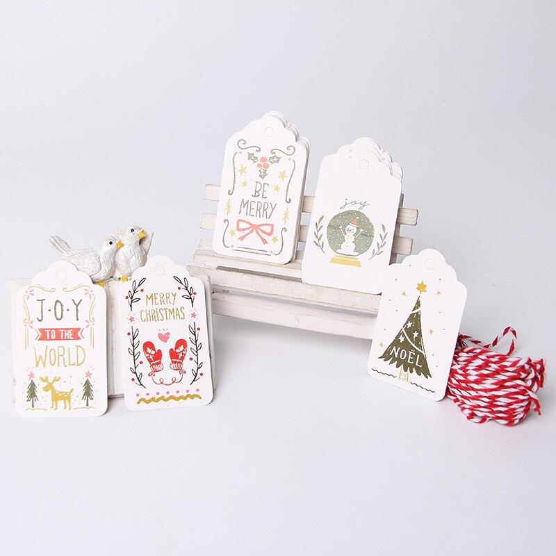 50 יחידות חג המולד תגים הודעה כרטיס עבור חגיגי מסיבת מתנות אספקת Diy קישוטי עם מחרוזת Navidad תליית קישוטים
