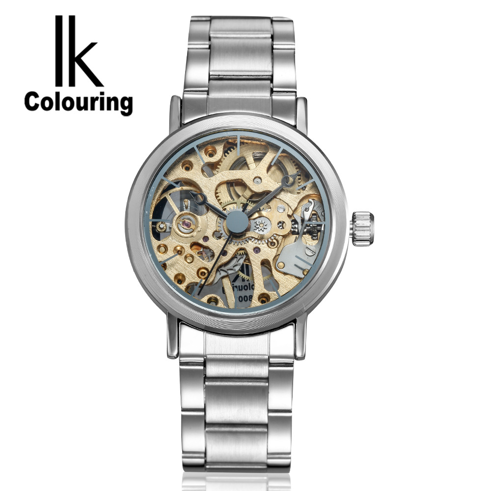 ФОТО 2017 IK Watch Men's Women Lovers' Skeleton Watches Auto Mechanical Wristwatch with Orignial Box Free Ship