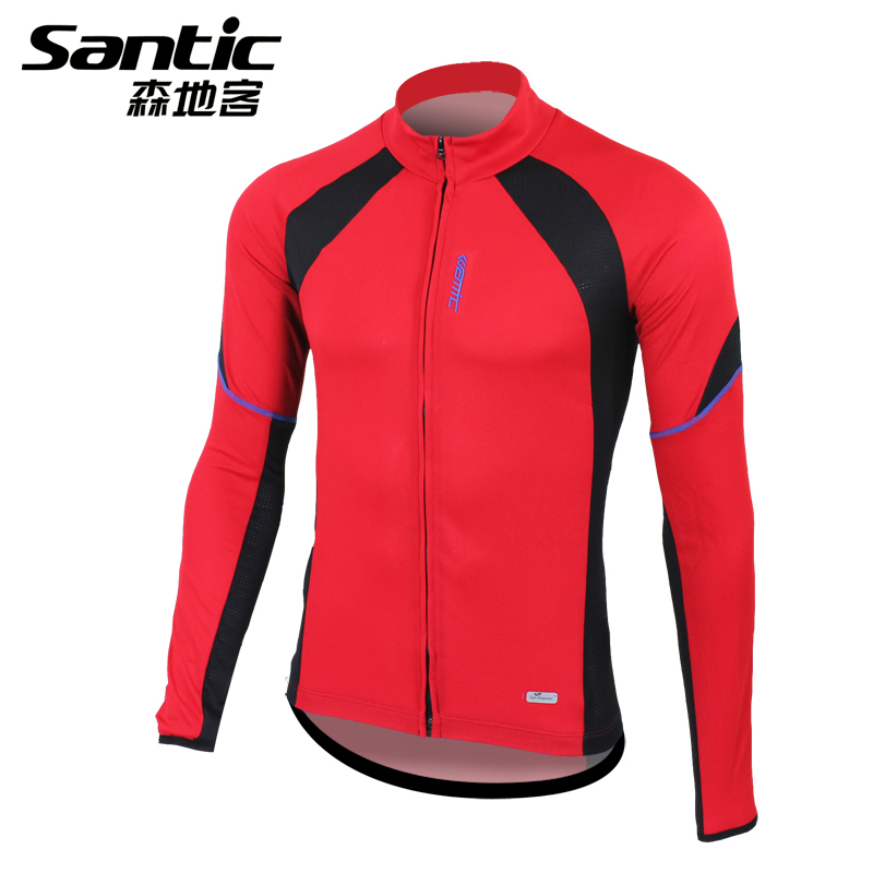 Santic Men Red Cycling Jacket Spring & Autumn Long Sleeve Bike Bicycle Clothing Breathable,Quick Dry Cycling Coat Jacket new 17 black red spider mens breathable bike clothing polyester autumn long sleeve cycling jerseys size 2xs to 6xl