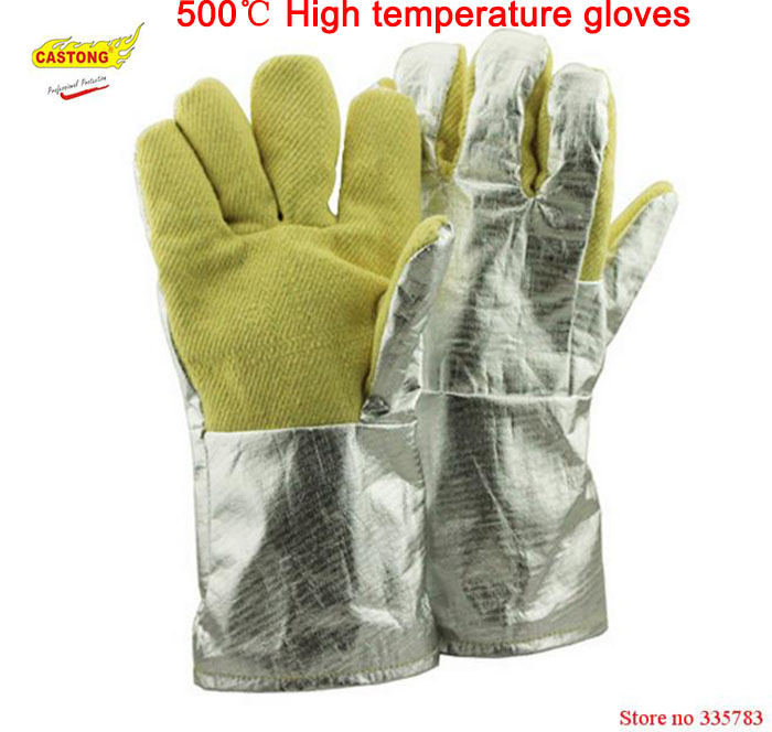 500 degrees heat insulation gloves High temperature resistant gloves to hot flame retardant aluminum foil Meta Aramid fire luvas outdoor research silencer fire resistant gloves