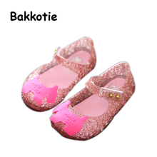 Bakkotie 2017 New Fashion Summer Baby Girls Sandals Silver Pink Summer Jelly Shoes for Toddlers Kid Brand Black Dog Breathable